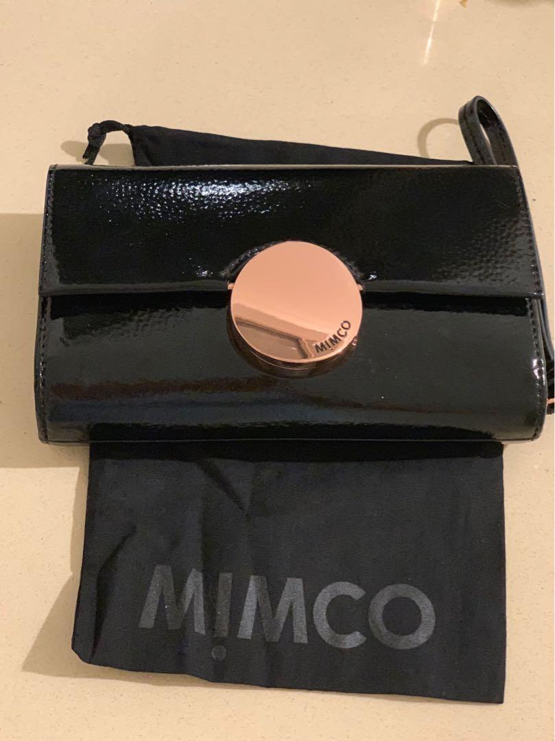 Mimco Waver Black Patent Extra Large Wallet