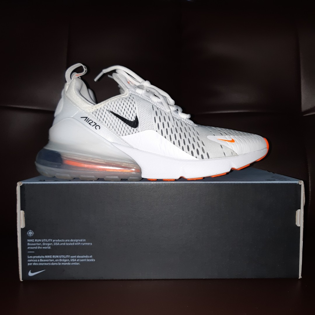 reputable site 94275 4e0ee Nike Air Max 270 - White Total Orange, Men s Fashion, Footwear ...