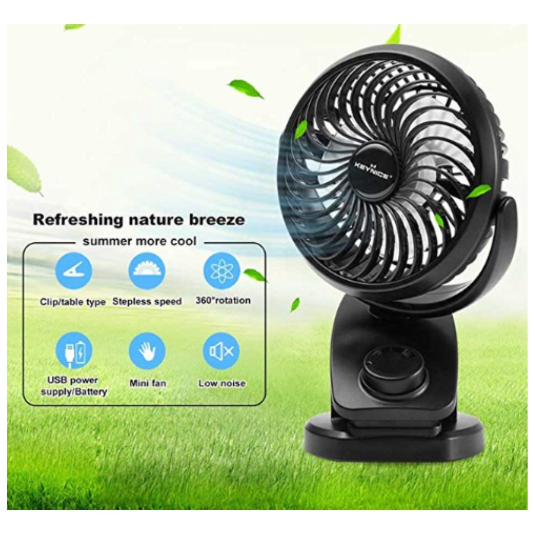 P15 KEYNICE Table Desk Fan Rechargeable 5000Mah Battery Operated Clip on  Fan with 360 Degree Rotation Portable Personal USB Fan Strong Wind for Baby