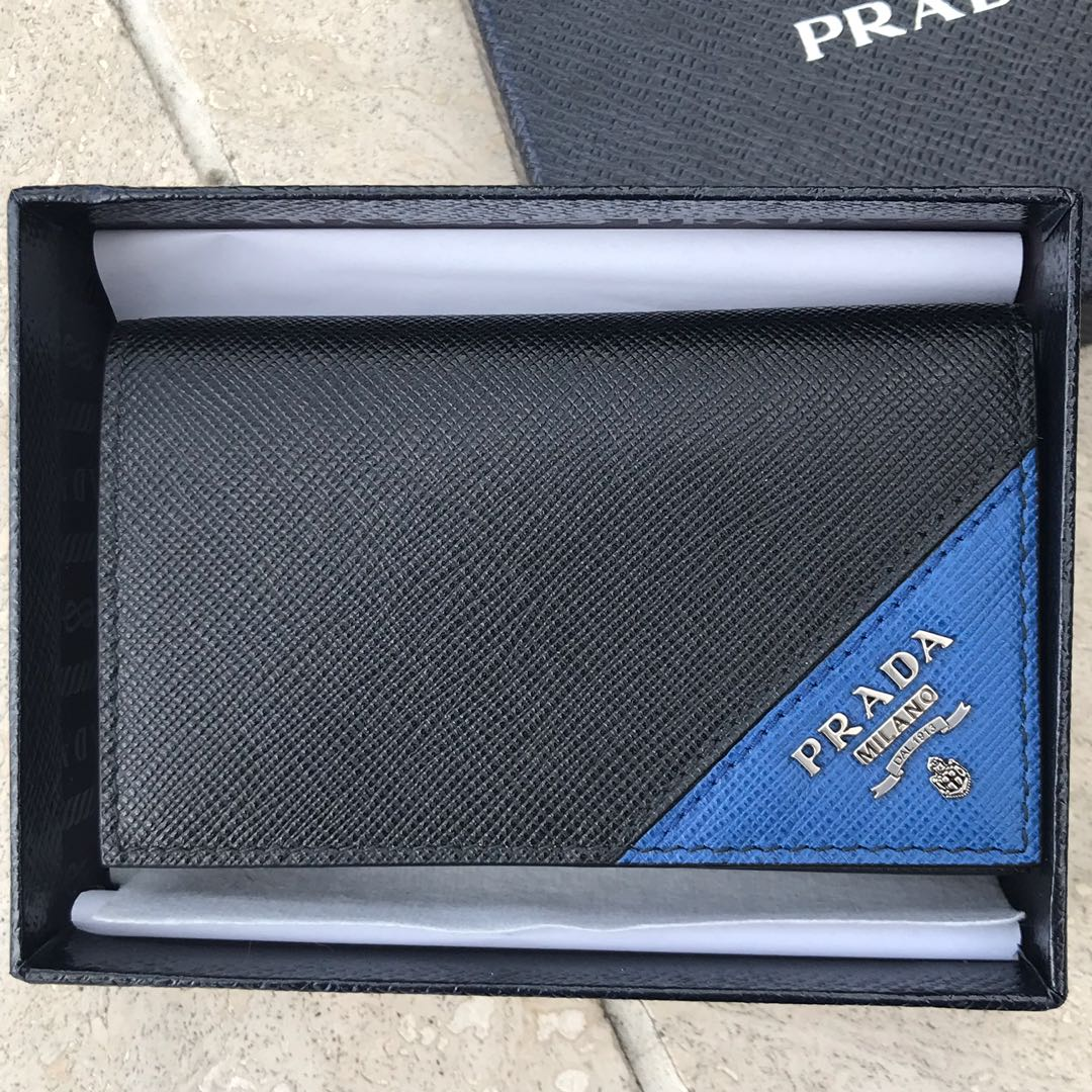 5444318f55d5 PRADA Black Saffiano Leather Cardholder Wallet 100% AUTHENTIC+BRAND ...