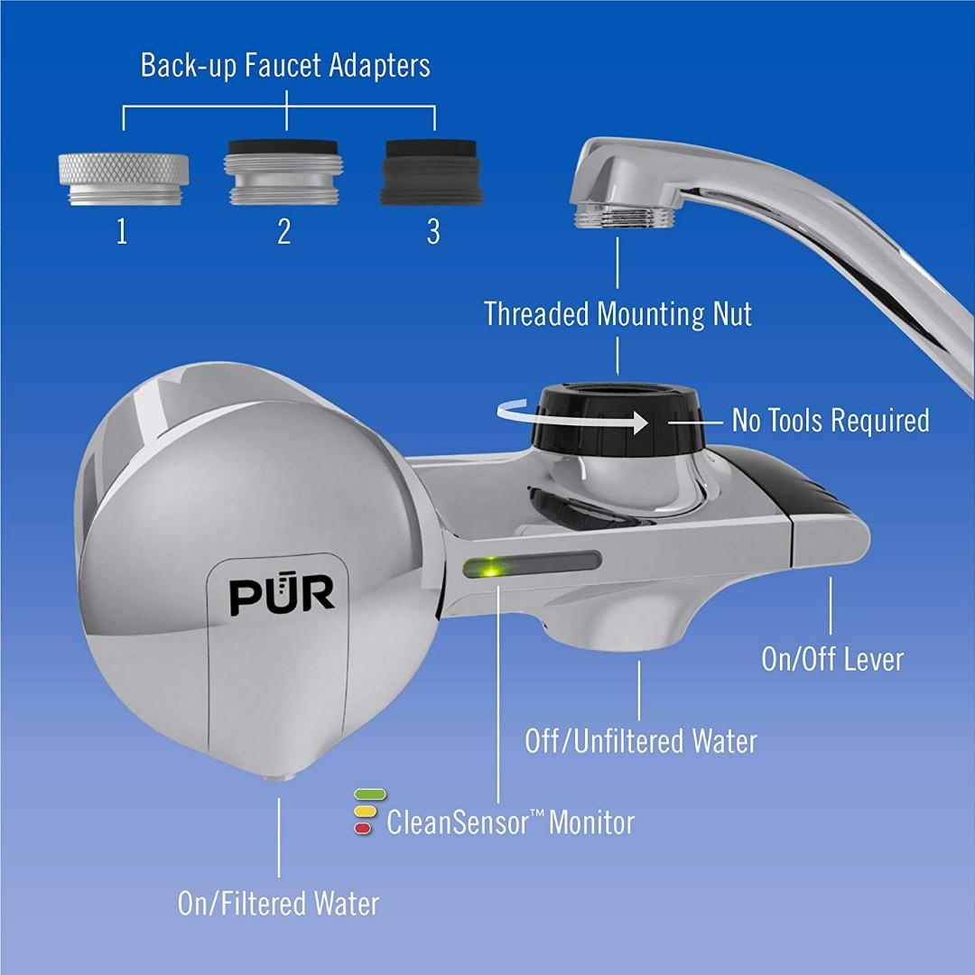 PUR Chrome Horizontal Faucet Mount w/ 1 Basic Filter Maxion CleanSensor Monitor