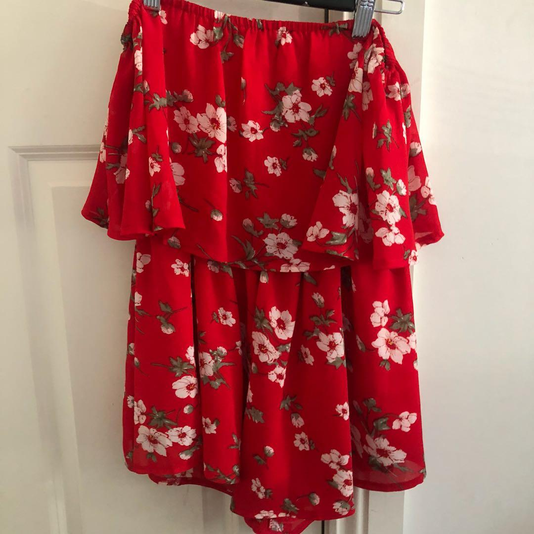 Red floral strapless playsuit