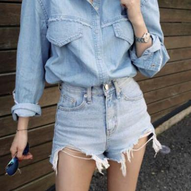 Ripped HW Denim Shorts