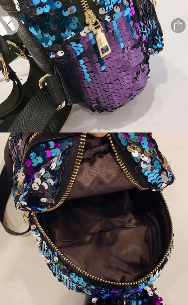 3c1fd465c2b5 Shinning Bling Sequins Cute Big Rabbit Ears Backpack Girls Women Mini  Travel Bag Brilliant Blue