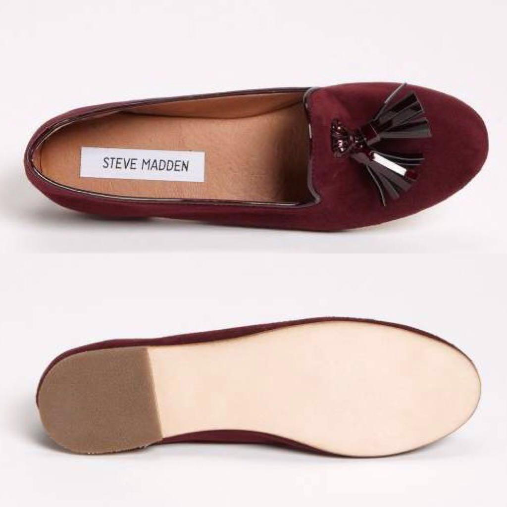 b3ce866d170 Steve Madden Burgundy Suede Tassel Loafers Slippers