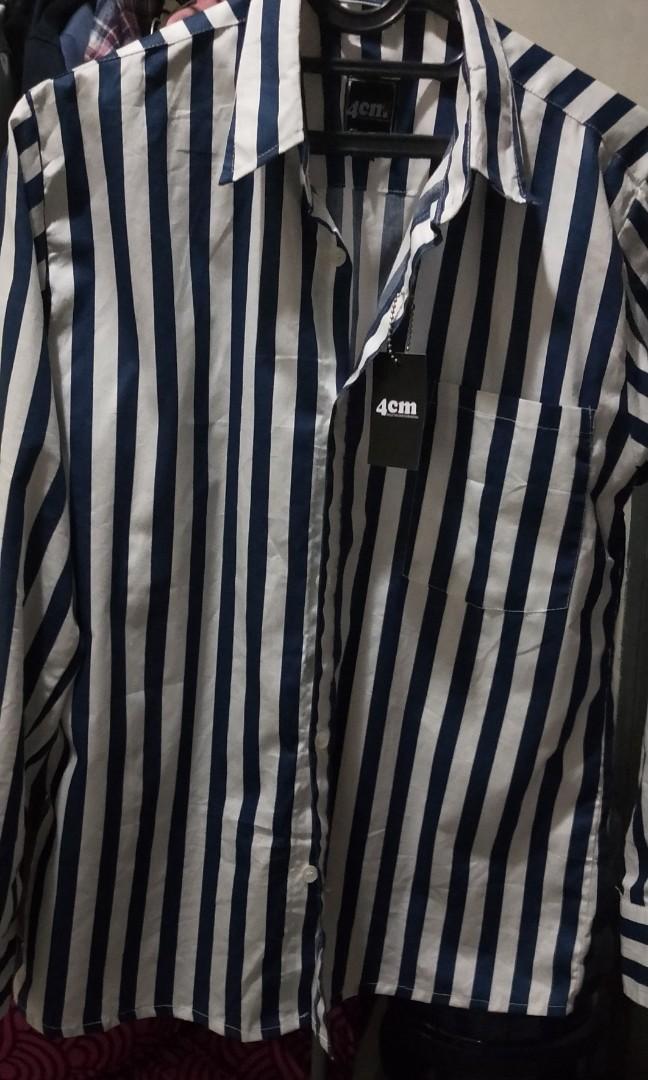 Stripe shirt biru putih BNWT size S