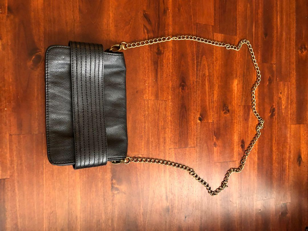 Vegan black leather crossbody