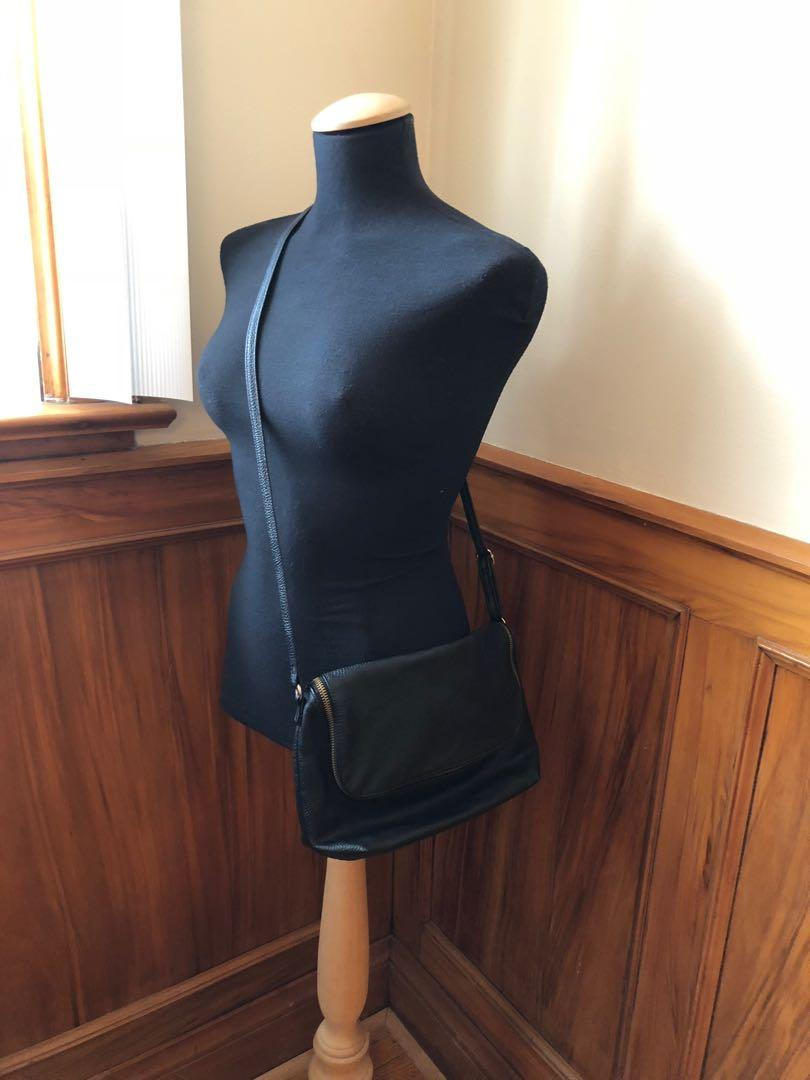 Vegan leather black crossbody