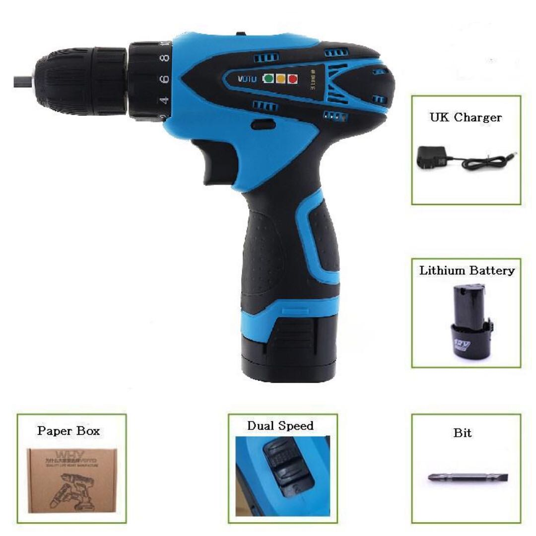 Tools Sale Ac 100-240v Cordless 12v Electric Drill Screwdriver With 2 Lithium Batteries And Two-speed Adjustment Button Electric Drills