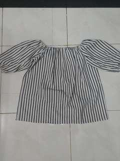 Stripes Sabrina Top