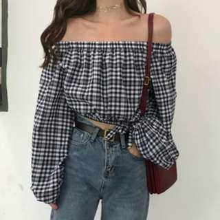 🚚 Classic Valerie Off Shoulder Checkered Top