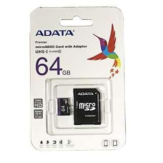 ADATA 威剛 終身保固 內附轉接卡 MicroSD UHS-I Class10 64GB SD記憶卡 儲存卡 SD卡