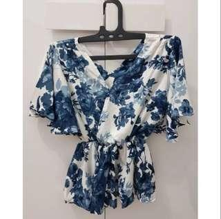 Flower Peplum Blouse