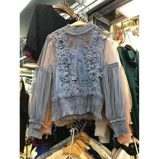 Powder Blue Floral Embroidered Lace Sheer Mesh Blouse Top