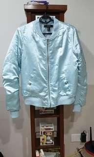 F21 bomber jacket blue satin