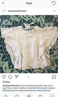 SUPER SALE: Zara striped butterfly top