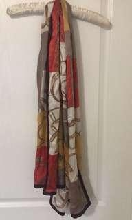 Brown and red floral scarf