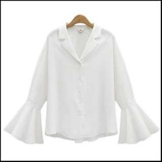 [PO] Plus Size korean bell sleeve button top