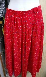 🚚 彩色點點紅色雪紡裙