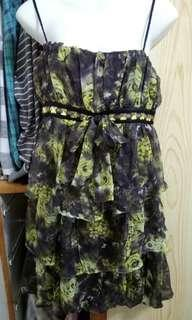 🚚 黃黑層紗花朵小禮服