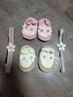 🚚 Almost brand new pastel pink baby shoes with floral embellishments