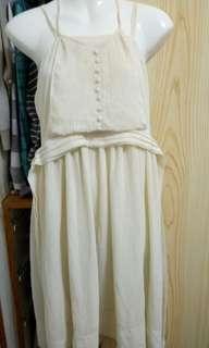 🚚 米色假兩件洋裝