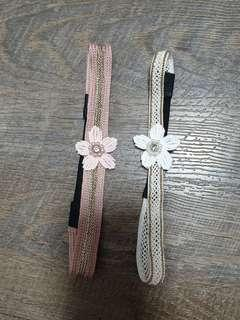 Almost brand new baby headband with floral embellishments gold trimming