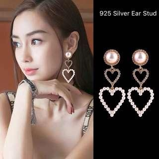 <free pos 3 pairs & above> Korean Design 925 Silver Ear Stud love heart shape pearl earrings