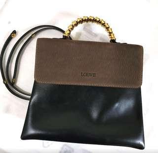 Authentic Loewe Vintage Two Way Bag Black & brown NOT Gucci Hermes
