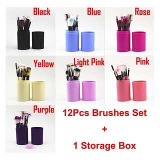 [PO] 12-pc Make Up Brush Set c/w Case
