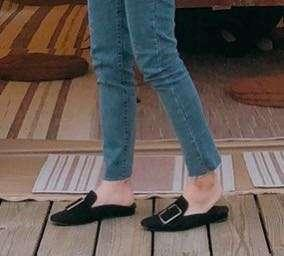 實拍!實拍!前包後空懶人拖鞋