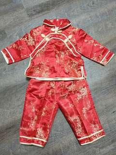 Almost brand new CNY baby red gold qipao cheongsam