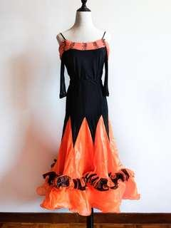 Latin / Ballroom Dance Skirt - Orange and Black