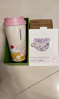 Starbucks limited edition mount fuji tumbler with sakura gift card (no value)