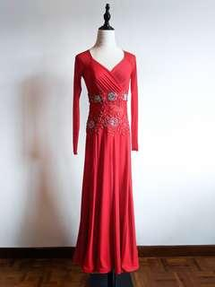 Latin / Ballroom Dance Dress - Red Beaded