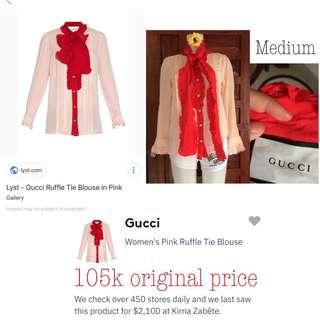 Original gucci top with red tie bow.. original price 105 thousand