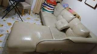 Half leather L shape sofas