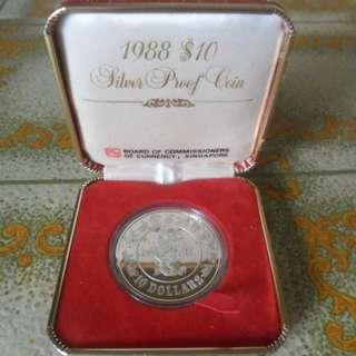 1988 Singapore Lunar Zodiac Dragon $10 Silver Proof Coin