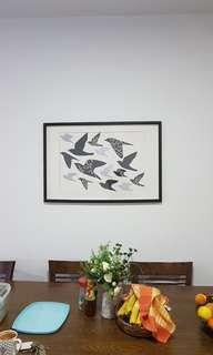 Wall picture with frame birds