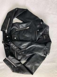 Zara leather moto jacket size 10