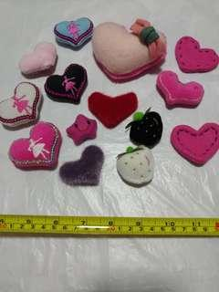 [Clearance/ Sales] Love/ Heart Shape/ Star/ Strawberry Patch/ Soft Toy/ Plush Toy Set for Brooch/ Badge/ Pin/ Hair Clip/ Hair Tie/ Hair Band - Women Fashion/ Hair Accessories/ DIY/ Handmade/ Craft Accessories