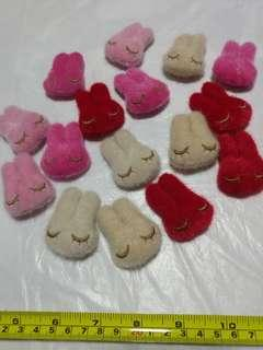 [Clearance/ Sales] Brown/ Pink/ Red Rabbit/ Bunny Patch/ Soft Toy/ Plush Toy Set for Brooch/ Badge/ Pin/ Hair Clip/ Hair Tie/ Hair Band - Women Fashion/ Hair Accessories/ DIY/ Handmade/ Craft Accessories