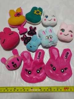 [Clearance/ Sales] Rabbit/ Bunny Patch/ Soft Toy/ Plush Toy Set for Brooch/ Badge/ Pin/ Hair Clip/ Hair Tie/ Hair Band - Women Fashion/ Hair Accessories/ DIY/ Handmade/ Craft Accessories