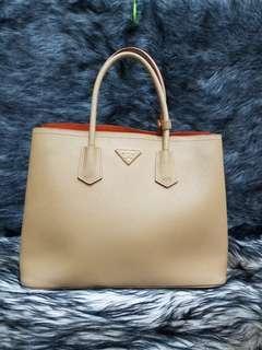 Prada Saffiano Cuir Double Bag Tan