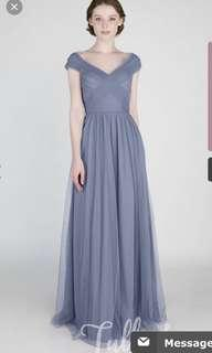 Long Blue Tulle & Chantilly Dress