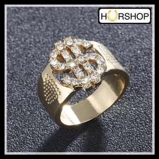 FREE BOX cincin pria gold dollar hip hop anti alergi ring men batu zircon