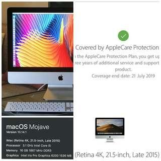 ❤️ iMac 4k 21.5 2015 i5 3.1 16GB 1TB Fusion + Appple Care * [new monitor] * Perfect Condition 99% new *
