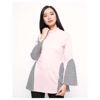 Details Blus Lengan Panjang Detail Print Stripes - Pink dan Hitam