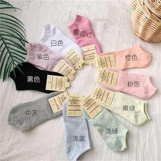 🚚 送禮自用皆宜、全新、可混搭、馬卡龍 短襪 糖果色 船型襪子 純色 吸汗 防臭 舒適、#半價衣服市集