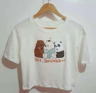 WE BARE BEARS Fabric: Cotton Spandex Size : Fit Small to Large frame Print: SilkScreen Rubberize 💰Php 230.00  (EMF161)